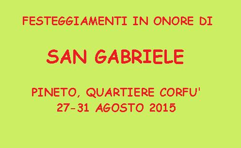 PROGRAMMA DEI FESTEGGIAMENTI IN ONORE DI SAN GABRIELE